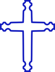 Blue Outlined Cross Clip Art