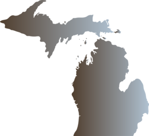 Michigan Outline With Great Lakes Clip Art