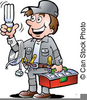 Clipart Of Man Holding Circular Saw Blade Image