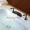 Oil Rubbed Bronze Finish Antique Style Widespread Waterfall Bathtub Faucet Image