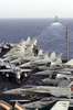 Various Navy Aircraft Are Chocked And Chained To The Flight Deck, As The Guided Missile Cruiser Uss Princeton (cg-59) Steams Forward Of Uss Nimitz (cvn 68) Image