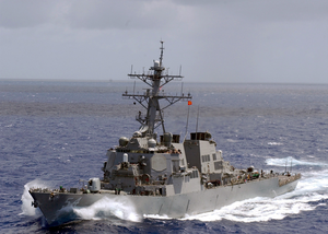 The Guided Missile Destroyer Uss Curtis Wilbur (ddg 54) Sails In The Open Waters Of The Western Pacific Ocean. Image