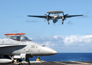 An E-2c Hawkeye Assigned To The Bear Aces Of Carrier Airborne Early Warning Squadron One Two Four (vaw-124) Makes Its Final Approach Image