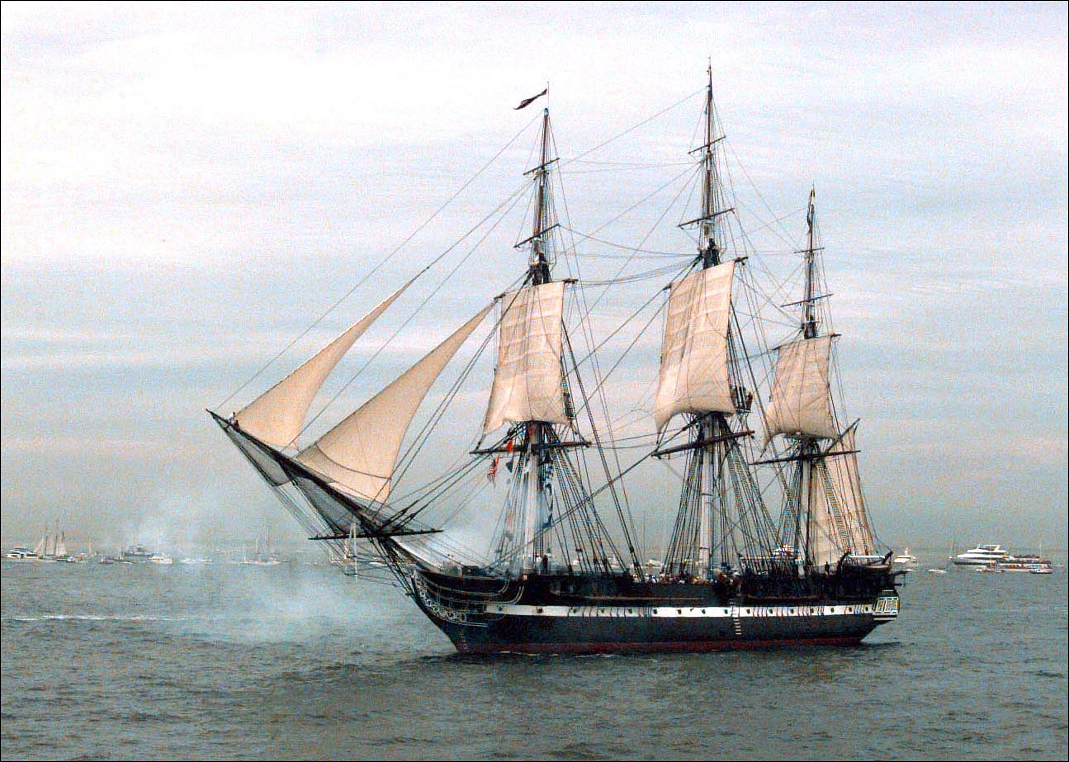 Uss Constitution Fires Its Starboard Guns. | Free Images ...