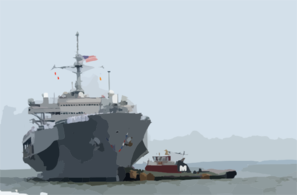 Tugboats Assist The Amphibious Command And Control Ship Uss Mount Whitney (lcc/jcc 20) To The Pier. Clip Art