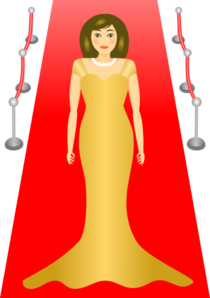 Woman Standing On The Red Carpet Clip Art