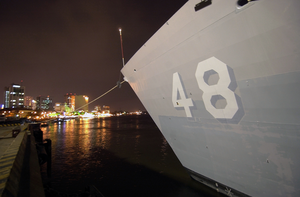 The Hull Number On The Bow Of Uss Vandegrift (ffg 48) Is Visible Over The City Lights Of Ho Chi Minh City, Vietnam, Following Her Arrival For A Scheduled Port Visit. Image