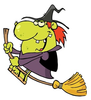 Funny Looking Old Cartoon Witch Riding Her Broomstick Smu Image