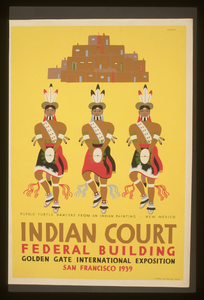 Indian Court, Federal Building, Golden Gate International Exposition, San Francisco, 1939 Pueblo Turtle Dancers From An Indian Painting, New Mexico / Siegriest. Image