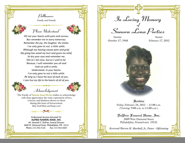 free funeral program clipart