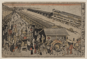 Perspective Print Of The Market On Odawaracho At Nihonbashi In Edo. Image