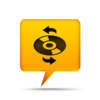 Yellow Comment Bubble Icon Media Cd Refresh Image