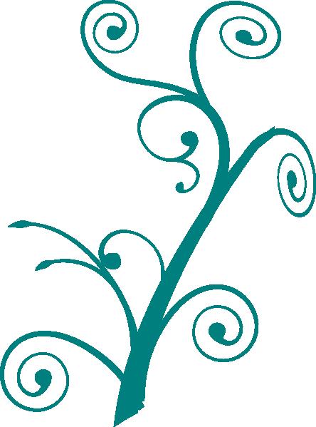 Teal Branch Swirl Clip Art At Clker Com Vector Clip Art Online