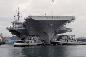 The Aircraft Carrier Uss Kitty Hawk (cv 63) Gets Underway After Completing A Successful Five-month Overhaul By Ship Image
