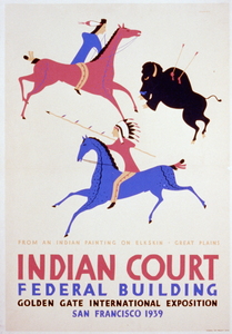 Indian Court, Federal Building, Golden Gate International Exposition, San Francisco, 1939 From An Indian Painting On Elkskin, Great Plains / Siegriest. Image