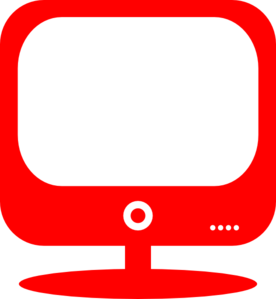 Red Retro Screen Clip Art