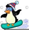 Snowboarding Penguin Clipart Image