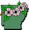 Arkansas Map And Flower Clip Art