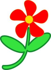 Red Flower Cute Clip Art