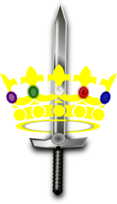 Jeweled Crown With Sword Clip Art