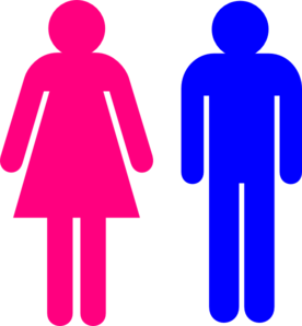 Boy And Girl Stick Figure - Red Clip Art