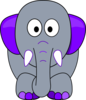 Grey Elephant, Purple Accents Clip Art