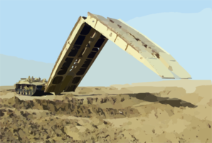 An M60a1 Armored Vehicle Landing Bridge (avlb) Practices The Deployment Of Its 60 Foot Bridge Span Clip Art