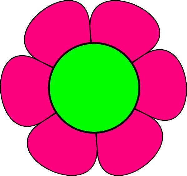 Large Green And Pink Flower Clip Art at Clker.com - vector ...
