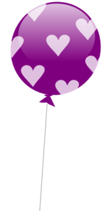 Purple Balloon With Hearts Clip Art