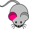 Single Pink Ear Gray Mouse Clip Art