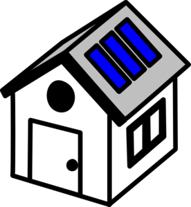 3d House Solar Panels Clip Art
