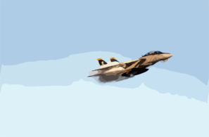 An F-14  Tomcat  Assigned To Fighter Squadron One Zero Three (vf-103)  Jolly Rogers  Conducts A High-speed  Fly-by  Above The Ship. Clip Art
