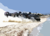 Landing Craft Air Cushion Eighty Four (lcac-84) Departs The Beach With Supplies, Ammunition, And Vehicles Clip Art