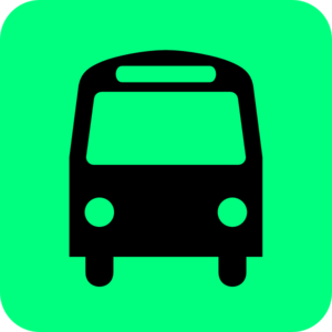 Bus Station Icon Black Green Clip Art
