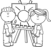 Clipart Of Children In Black And White Image