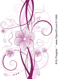 Purple Floral Vine With Blossoms And Tendrils Over White Poster Art Print Image