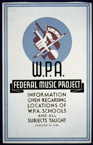W.p.a. Federal Music Project Information Given Regarding Locations Of W.p.a. Schools And All Subjects Taught Image
