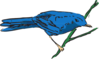 Blue Bird On A Stem Clip Art