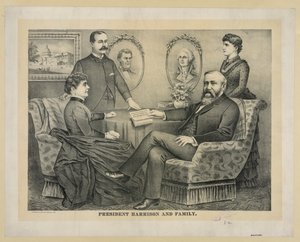 President Harrison And Family Image