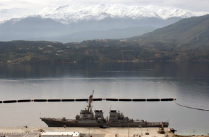 Uss Gonzalez (ddg 66) Sits Moored  At The Marathi Nato Pier Facility During A Brief Port Visit At Souday Bay. Image