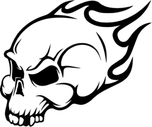 Flaming Skull Wall Art Sticker Clip Art