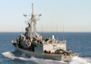 The Guided Missile Frigate Uss Ingraham (ffg 61) Sails Away After Completing A Replenishment At Sea (ras). Image
