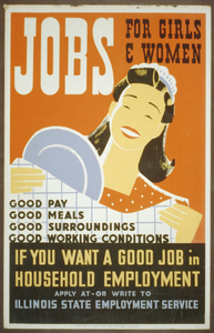 Jobs For Girls & Women If You Want A Good Job In Household Employment Apply At - Or Write To Illinois State Employment Service. Image