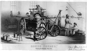 Boston Firemen. Cleaning The Machine, Plate No. 1 Image
