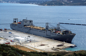 The Large, Medium-speed Roll-on/roll-off Ship Usns Benavidez  (t-akr 306) Sits Pierside In Souda Harbor During A Brief Port Visit. Image