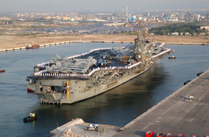 Uss Kennedy (cv 67) Pulls Into Spain For A Port Visit. Image