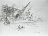 This Original 1941 Artwork By Navy Artist Vernon Howe Bailey Is Titled Uss Dahlgren Ericsson At Pier And Is Set At The Former New York Navy Yard. Image