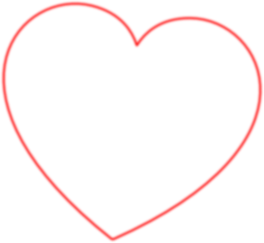 Red Outline Heart 7degree Clip Art