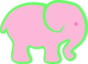 Pink And Green Elephant Clip Art