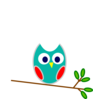 Blue And Red Owl Clip Art